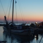 "An old ""Tjalk"" in Marken sunset"