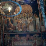 16th/17th century Church of the Nativity evry inch of walls and ceiling covered with biblical scenes and saints