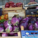 round egg plants, the red onions are in a 20 inch crate, about 5 (120mm) inch diam