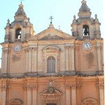 Cathedral Mdina 1702 On left a date clock