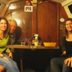 """Dinner on """"Fleetwood"""", Corrine and Euen on right. Taken with Lisa's self timer Canon"""