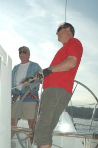 Pete Clement, skipper and Tom on the head sail trim