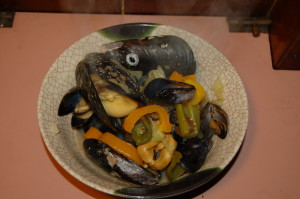 Thursday night mussel dinner, home-grown, Arabella's Special.