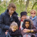 "Willemijn laying wreath with school children and Jos, one of her ""Names instead of Numbers"" biographers"