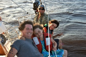 "A sail on Gary Pione's ""Moselle"" on the St. John's River with Dan, Ya Ya, Bo and their dad RoBo."