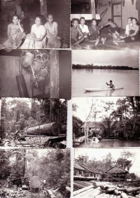 1962 Sarawak. Top two in Dayak longhouse in Sibu. 2nd left from top, are headhunted Japanese skulls.